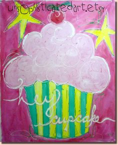 HEY Cupcake Painted Wall Canvas For Girls by unsophisticatedart, $80.00