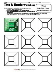Color VALUE Tints and Shades 4 Worksheets Packet : Color VALUE Tints and Shades Worksheets PACKET Includes: 4 Total Worksheets! Tint & Shade Worksheet (practice mixing values to give a illusion) Tint & Shade Value Scale Worksheet Tints Alternat Middle School Art Projects, High School Art, Classe D'art, Art Handouts, Art Worksheets, School Worksheets, Value In Art, 4th Grade Art, Art Curriculum
