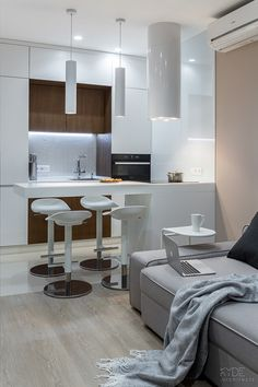 SMART.Zarichniy 28 REALISATION on Behance Kitchen Room Design, Kitchen Interior, Small Appartment, Beautiful Small Homes, Interior Design Photography, Small Apartment Design, Compact Living, Tiny Spaces, Room Decor