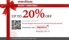 Special Promotion for Merry Christmas to Get Vietnam Visa - 20% OFF Please apply promotion code: MR20T12 at Vietnam-Evisa.Org