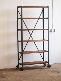 Custom Made Walnut Engineers Industrial Bookcase