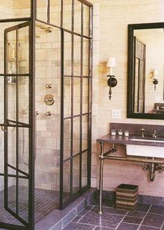 Salvaged windows used as shower doors! by alejandra