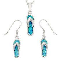 """Sterling Silver Created Opal Flip-Flop Earrings and Pendant Set with 18"""" Chain"""