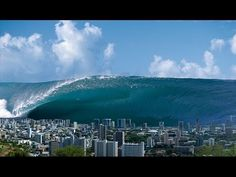 massive tidal wave, several thousand feet high, rearing up over Honolulu after a massive meteor strike in the Pacific Ocean.Tidal Wave over HonoluluSean Davey.Tidal Wave over Honolulu No Wave, Natural Phenomena, Natural Disasters, Tsunami Waves, Florida East Coast, Big Wave Surfing, Huge Waves, Wild Weather, Ocean Waves