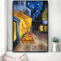 Famous Van Gogh Cafe Terrace At Night Oil Painting Reproductions on Canvas Posters and Prints Wall Art Picture for Living Room Mural Wall Art, Mural Painting, Wall Art Prints, Painting Wallpaper, Painting Prints, Van Gogh, Canvas Poster, Canvas Wall Art, Abstract Canvas