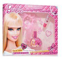 Barbie - detská EDT 30 ml + závoj pre bábiky + lesk na pery 7 ml + trblietavá nálepka