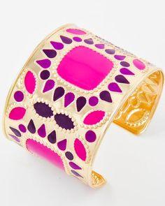 Gold Tone / Fuchsia Epoxy / Lead Compliant / Cuff Bracelet