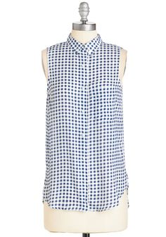 Gift of Gingham Tunic. Sporting the breezy, loose-fitting design of this blue-and-white top is rewarding on its own.  #modcloth
