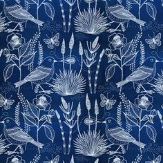 Geninne - Moody Blues Voile - Sashiko Birds Voile in Blue