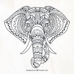 Hand drawn elephant in the ethnic style free vector