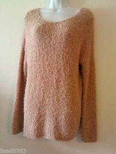 VINCE SZ L Sweater Nude Boatneck Cotton Stretch Eyelash Crop Knit Dusty Pink LS