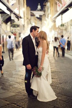 "Bride (in Nicole Miller ""Dakota"" wedding dress) & groom - They look like Ryan Reynolds and Blake Lively!"