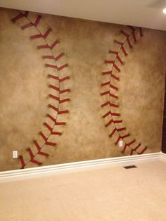Faux finish, hand painted baseball threads