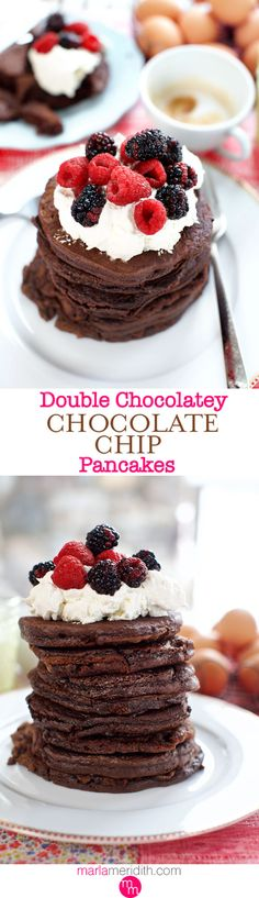 Double Chocolatey Chocolate Chip Pancakes | Chocolate lovers..this #recipe is for YOU! MarlaMeridith.com ( @marlameridith )