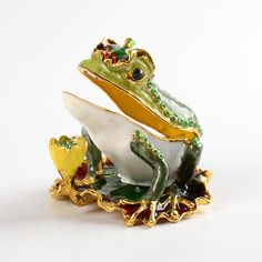 Catching flies... Happy Frog On Lily Pad Trinket Box $28.99