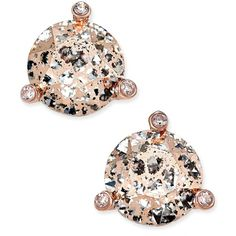 kate spade new york Rose Gold-Tone Crystal and Stone Stud Earrings ($38) ❤ liked on Polyvore featuring jewelry, earrings, rose gold, kate spade, crystal stone jewelry, stone earrings, earring jewelry and kate spade jewelry