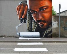 "Street paintings by Caiffa Cosimo, who also goes by the name Cheon ""Crosswalk"""