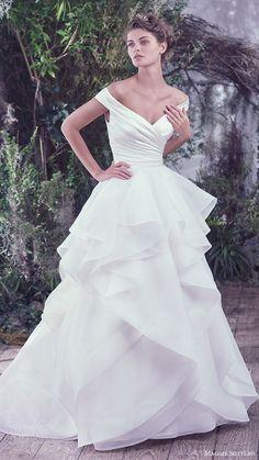 off shoulder vneck ruched surplice bodice ball gown wedding dress (zulani) mv