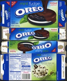 """The other of the two """"covered"""" Oreo limited editions that came out this Winter. Barbie Food, Doll Food, Barbie Bebe, Barbie Dolls, Diy Dollhouse, Dollhouse Miniatures, Paper Toys, Paper Crafts, Vintage Packaging"""