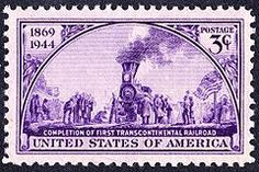 Postage stamp commemorating driving of the Golden Spike at the completion of the first Transcontinental railroad in U. Old Stamps, Rare Stamps, Vintage Stamps, Trains, Golden Spike, Image New, Commemorative Stamps, Stamp Collecting, Art History