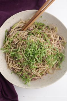 Cold Soba Noodle Bowl with Radish, Scallions and Microgreens