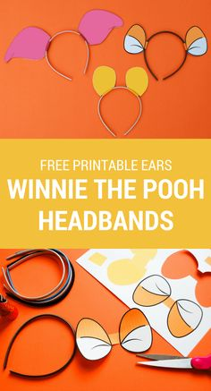 Make a DIY Winnie The Pooh headband using these free printable Winnie The Pooh ears for your own Hundred Acre Woods celebration.   Free printable Tigger ears | Free printable Winnie the Pooh ears | Free printable Piglet ears | easy Halloween costumes | Winnie The Pooh DIY costume | Piglet DIY costume | Tigger DIY costume