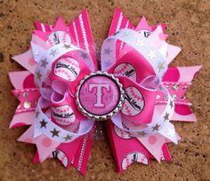Pink TEXAS RANGERS Hair Bow Bottle Cap Center by PolkaDotzBowtique, $10.49