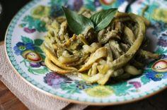 Raw Zucchini Pasta with Almond Pesto - sub garlic-infused oil for raw garlic.