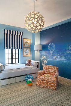 21 blue white contemporary mural kids room childs bedroom boys girls unisex