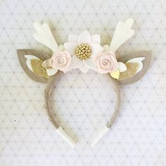 Items similar to Deer Antler Crown Headband // pink, blush, and white boho felt flower crown on Etsy Deer Antler Crown Headband // pink blush and от BakerBlossoms Felt Headband, Boho Headband, Crown Headband, Baby Headbands, Barrettes, Hairbows, Butterfly Hair, Diy Hair Accessories, Fabric Jewelry