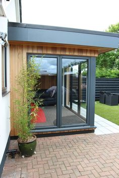 Existing tired conservatory removed then cedar clad room built off existing base. Existing tired conservatory removed then cedar clad room built off existing base. House Plans, Flat Roof Extension, House Design, Garden Room, Garden Room Extensions, Bungalow Extensions, Conservatory Extension, Window Design, House Exterior