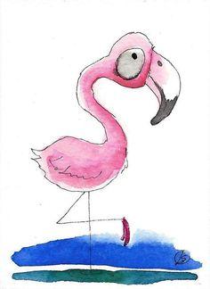 ACEO Original watercolor art painting Lucia Stewart whimsical bird flamingo #IllustrationArt