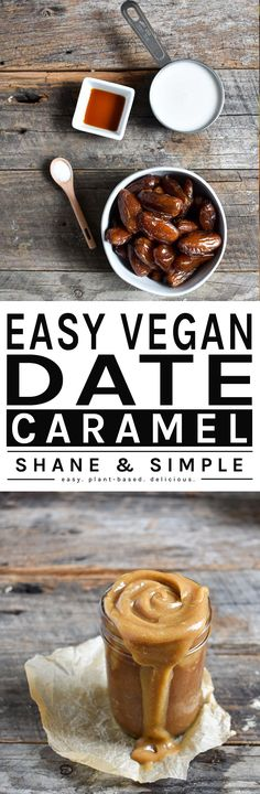 Quick, easy, and delicious caramel recipe made from dates. Perfect as a dip with fruity and other healthy snacks. Vegan and gluten-free. Vegan Dessert Recipes, Delicious Vegan Recipes, Vegan Sweets, Vegan Snacks, Whole Food Recipes, Healthy Snacks, Simple Recipes, Healthy Recipes, Vegan Dating