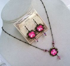 New w/Swarovski Rivoli/Ultra Pink AB Coated Crystal Necklace and Earring Set Swarovski Jewelry, Crystal Jewelry, Crystal Necklace, Crystal Beads, Swarovski Crystals, Jewelry Stores, Jewelry Sets, Jewelry Making, Simple Earrings