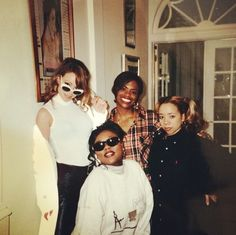 """1996, Mariah Carey, Kandi Burruss, Latocha Scott & Tameka """"Tiny"""" Cottle at Mariah's house to record some background vocals for the remix of Always be my baby."""