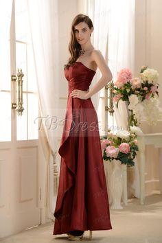Elegant Strapless Floor-Length Prom/Bridesmaid Dress