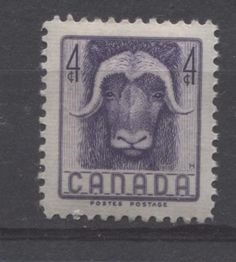 The 4c Musk ox stamp issued in 1955 as part of  a five year series on Canadian Wildlife.