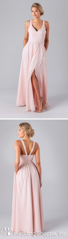 Kennedy Blue Riley: A simple blush bridesmaid dress in a long A-line style made of breathable, luxe chiffon fabric. The plain bodice features an elongating V-neckline and the straps create a V-back.
