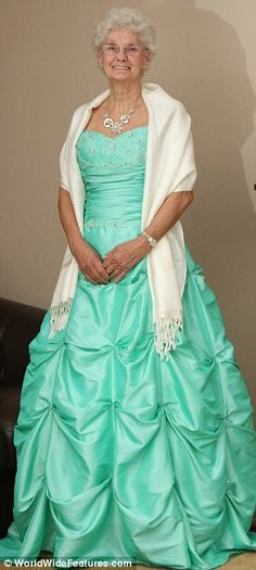 Grandmother celebrates 80th birthday wearing dress that granddaughter wore to prom! Wonderful :)