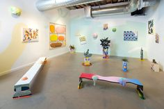 """""""Slippery Slope"""" - a four person exhibition featuring Morgan Blair, Nathan Green, Dan Lam, Ben Sanders at Left Field Gallery in San Luis Obispo."""
