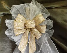 Large Brown Burlap Ribbon Bows With Lace And Tulle, Rustic, Wedding, Reception, Decorations, Church Pew Bows, Made To Order