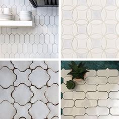 Sure, you& familiar with subway tile and square tile and penny tile and hex tile and maybe even fish scale tile, but there& so much more out there. Hex Tile, Penny Tile, Hexagon Tiles, Subway Tile, Wall Tiles, Scallop Tiles, Fish Scale Tile, Brick Fireplace Makeover, Fireplace Tiles