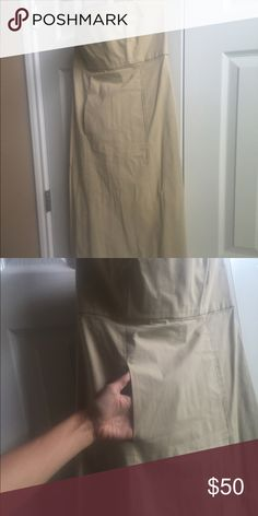 Women's Ralph Lauren strapless dress with pockets! Women's Ralph Lauren strapless dress in tan/cream. Size 6. Cotton/rayon fabric zip closure up the back. Two slit pockets in the front center of the dress. Ralph Lauren Dresses Strapless