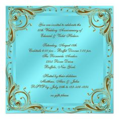 Teal Blue Gold 50th Wedding Anniversary Party Personalized Invitations
