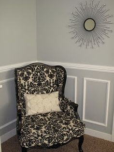 Vertical rectangular picture frame molding with chair rail. Should do this in the living room with the navy over and behind Chair Rail Molding, Master Bedroom Makeover, Living Room Chairs, Dining Room, Dining Chair, Eclectic Decor, My Room, Home Crafts, Diy Crafts