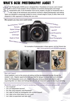 What the Photography GCSE course is about.