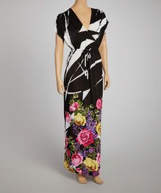 Loving this Just Love Black & Pink Floral Maxi Dress on #zulily! #zulilyfinds