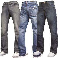 9b7d0406b9d New Mens Bootcut Wide Leg Flared Work Casual Basic Denim Jeans Big King  Sizes BN
