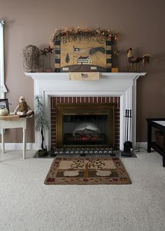 Mantle with Country Decor