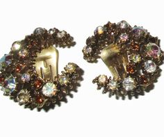 Rhinestone Earrings Vintage Crescent AB Prong by PalmFrondJewelry